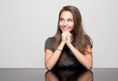Ekspresyjny brunetki piękno. zdjęcie stock