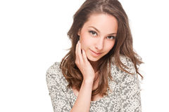 Ekspresyjny brunetki piękno zdjęcie stock