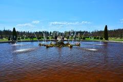 Ekspringbrunn i Peterhof, St Petersburg, Ryssland Arkivbild