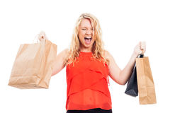 Ekstatische Frau mit Einkaufenbeuteln Lizenzfreie Stockfotografie