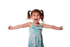 Ekstatisches glückliches kleines Kleinkindmädchen stockfotografie