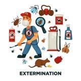 Eksterminacja lub zarazy kontrola firmy usługowa ewidencyjny plakatowy szablon dla sanitarnej domowej dezynfekci ilustracja wektor