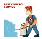 Eksterminacyjnego lub sanitarnego zarazy kontrola dezynfekci usługa wyposażenia wektorowy płaski projekt royalty ilustracja