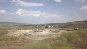 Ekstrakcja, domycie, sortować i zakłócenie spokoju rzeczny żwir, ziemski Andalusia przemysł mąci górniczego Spain Technologia uzy zdjęcie wideo