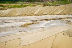 Ekstrakcja piasek, piasek jama z wodą Zdjęcie Stock