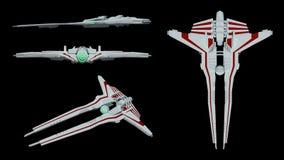 Ekstrawagancki futurystyczny statku kosmicznego model świadczenia 3 d ilustracja wektor