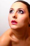 ekstremalne twarz blisko boczne portret w modelu pionowe Zdjęcie Royalty Free