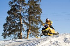 Ekstremaly. Competitions on snowmobile Royalty Free Stock Image