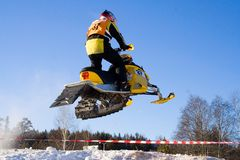Ekstremaly. Competitions on snowmobile Royalty Free Stock Images