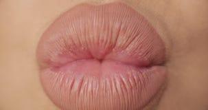 Ekstremum w górę tłuściuchnych żeńskich seksownych warg jest ubranym nagą pomadkę robi buziakowi i ono uśmiecha się zbiory