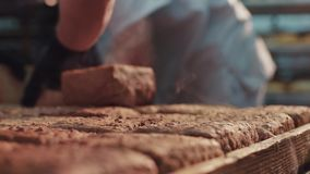 Ekstremum zamknięty up widok dekatyzować gorących konfekcyjnych bochenki sortujących piekarzem chleb Chlebowa produkcja, przemysł zbiory wideo