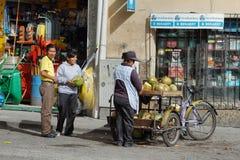 Ekuadorianische ethnische Frau, die Kokosnüsse in der Straße verkauft Stockbilder