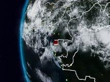 Ekvatorialguinea från utrymme under natt stock illustrationer