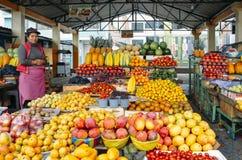 Ekwadorskiej kobiety owocowy sprzedawca przed jej pokazami tropikalne owoc w rynku Obraz Stock