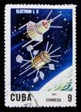 Elétron 1 e 2, 10o Ann Do lançamento do primeiro serie do satélite artificial, cerca de 1967 Imagens de Stock Royalty Free