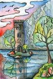 Elévese en la isla en el lago rodeado por los árboles Dibujo de lápiz de la fantasía ilustración del vector