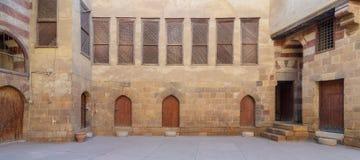 El拉扎兹历史的房子庭院,位于Darb Al阿赫马尔区,开罗,埃及 免版税库存图片