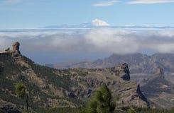 El泰德峰和Roque从大加那利岛的Nublo 免版税库存照片