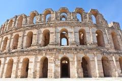 El的Djem被拆毁的古老圆形露天剧场 库存图片