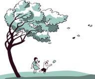El ¡de Ð hildren jugar en un fuerte viento Foto de archivo libre de regalías