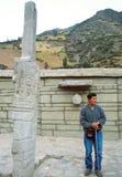 El ³ n Stela de Lanzà en el ¡de ChavÃn de Huà ntar Fotos de archivo
