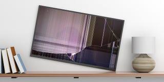 el ½ del ¿del ï roken la pared TV, libros y una lámpara en un estante, fondo blanco de la pared ilustración 3D Fotografía de archivo