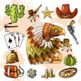 El águila americana del personaje de dibujos animados con el sistema de artículos occidentales clásicos diseña la impresión stock de ilustración