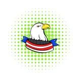 El águila calva con los E.E.U.U. señala el icono por medio de una bandera, estilo de los tebeos Fotos de archivo libres de regalías
