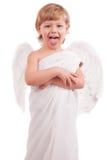 El ángel del muchacho muestra lenguaje Imagen de archivo libre de regalías
