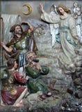 El ángel del señor visitó a los pastores y les informó nacimiento del ` de Jesús Fotos de archivo