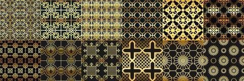 El árabe de oro adorna el modelo inconsútil Moda de los árabes, ornamento islámico geométrico y modelos del marco del Ramadán del stock de ilustración