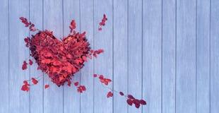 El árbol con las hojas rojas crece a través de la madera blanca en forma de un corazón stock de ilustración