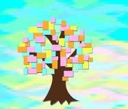 El árbol crece con las hojas de papel coloreadas stock de ilustración