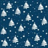 El árbol de abeto hecho a mano protagoniza el modelo del vector de la nieve Bandera del fondo de los días de fiesta de la Feliz A Fotos de archivo libres de regalías
