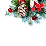 El árbol de abeto de la Navidad con la decoración y la copia espacian, aislado en w Fotografía de archivo