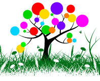 El árbol de hierba significa natural y redondo circulares Imagenes de archivo