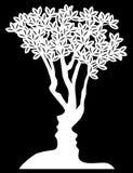 El árbol de la ilusión óptica hace frente a concepto ilustración del vector
