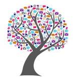 El árbol de la tecnología social y de los medios llenó de los iconos del establecimiento de una red Foto de archivo libre de regalías