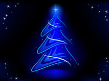 El árbol de navidad abstracto con el azul ilumina la estrella Foto de archivo