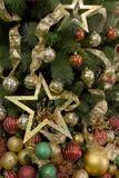 El árbol de navidad adornó fondos Foto de archivo libre de regalías