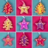 El árbol de navidad adorna el collage Fotos de archivo libres de regalías