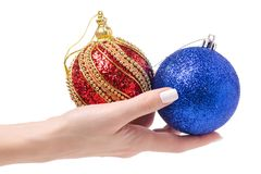 El árbol de navidad azul del oro rojo de la decoración de la Navidad juega a disposición Foto de archivo libre de regalías