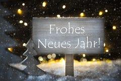 El árbol de navidad blanco, Frohes Neues significa la Feliz Año Nuevo, copos de nieve Fotografía de archivo libre de regalías
