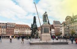 El árbol de navidad central instala Kleber en el lugar con general Monu Foto de archivo libre de regalías