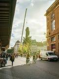 El árbol de navidad central instala el sunflare en el lugar de Kleber Fotografía de archivo libre de regalías