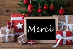 El árbol de navidad colorido, medios de Merci le agradece imágenes de archivo libres de regalías