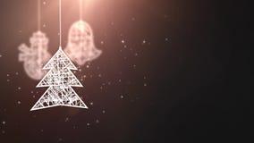 El árbol de navidad del Libro Blanco firma caer abajo fondo estacional festivo del negro del placeholder de la celebración almacen de metraje de vídeo