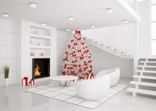 El árbol de navidad en el interior moderno 3d rinde Fotografía de archivo libre de regalías