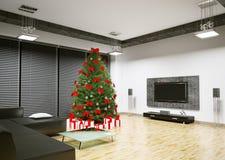 El árbol de navidad en la sala de estar 3d interior rinde Fotografía de archivo libre de regalías