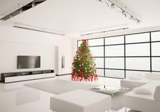 El árbol de navidad en la sala de estar 3d interior rinde Foto de archivo libre de regalías